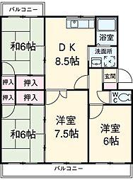 愛知県安城市横山町下毛賀知丁目の賃貸マンションの間取り