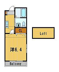 神奈川県横須賀市汐入町5丁目の賃貸アパートの間取り