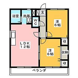 ボヌールK[2階]の間取り