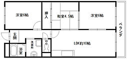 大阪府八尾市東山本新町8丁目の賃貸マンションの間取り