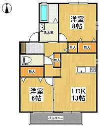 リビングタウン江戸屋敷 B棟[2階]の間取り