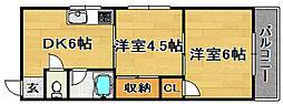 大阪府大阪市東淀川区豊里3丁目の賃貸マンションの間取り