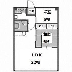 リバーサイドマンション1号館[305号室]の間取り
