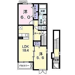 南海高野線 北野田駅 徒歩17分の賃貸アパート 2階2LDKの間取り