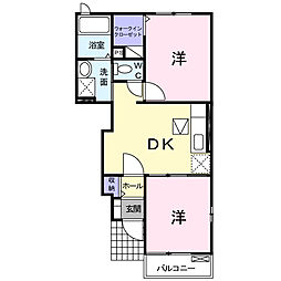 JR東海道本線 島田駅 バス38分 住吉新田下車 徒歩10分の賃貸アパート 1階2DKの間取り