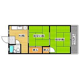 植野マンション[2階]の間取り