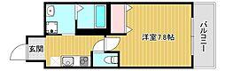ドリームフジ桜川 2階1Kの間取り