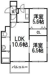 クレッセントK[1階]の間取り