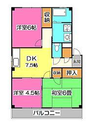 埼玉県所沢市大字下安松の賃貸マンションの間取り
