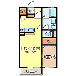 リビングタウン榎戸[B101号室]の間取り