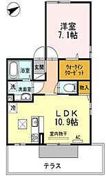 福岡県久留米市長門石1丁目の賃貸アパートの間取り