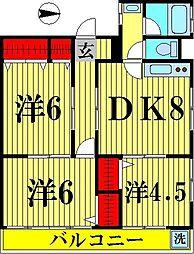東京都足立区伊興4丁目の賃貸マンションの間取り
