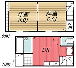 JR総武本線 四街道駅 徒歩20分の賃貸タウンハウス 1階2DKの間取り