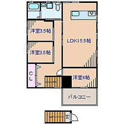 神奈川県横浜市港北区新羽町の賃貸アパートの間取り