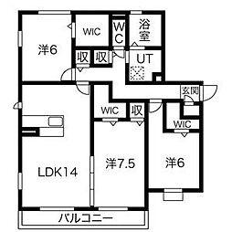 クレアーレ高峯[1階]の間取り