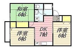 湘南サンライズガーデンII[203号室]の間取り
