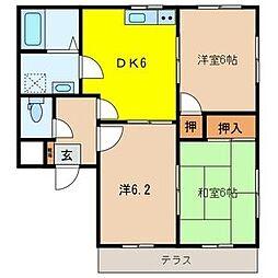 メゾンドネージュ7号館[1階]の間取り