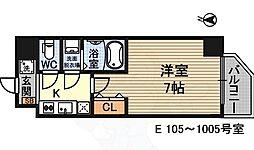 ウインズコート新大阪2 8階1Kの間取り