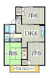 千葉県柏市松葉町5の賃貸アパートの間取り