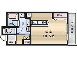 ルーチェ 2階ワンルームの間取り