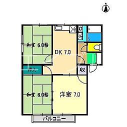 幸ハウス B棟[2階]の間取り