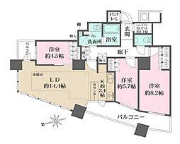 ザ・パークハウス西新宿タワー60 33階3LDKの間取り