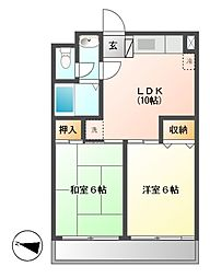 グリーンサンハイツ 2b[3階]の間取り