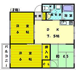 シーショア2[2階]の間取り