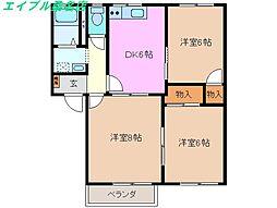 三重県桑名市新西方4丁目の賃貸アパートの間取り