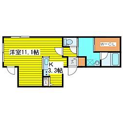 札幌市営東豊線 東区役所前駅 徒歩6分の賃貸マンション 2階1Kの間取り