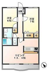 岐阜県美濃加茂市中部台8丁目の賃貸マンションの間取り
