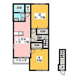 秋桜 弐番館[2階]の間取り