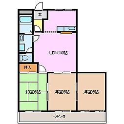 三重県鈴鹿市西条4丁目の賃貸マンションの間取り