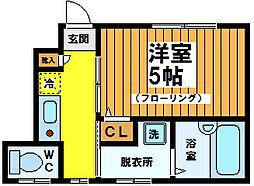 東京都渋谷区幡ヶ谷3丁目の賃貸アパートの間取り