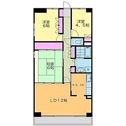 本厚木ロイヤルマンション[4階]の間取り