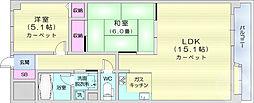 JR仙石線 榴ヶ岡駅 徒歩9分の賃貸マンション 3階2LDKの間取り
