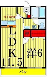 エーデルハイム 1階1LDKの間取り
