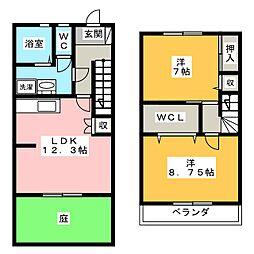 セリオ上宿C棟 1階2LDKの間取り