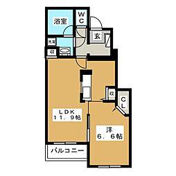 赤池町アパートB 1階1LDKの間取り