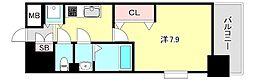 Luxe神戸WEST 1階1Kの間取り