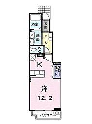 アドラブール 1階ワンルームの間取り