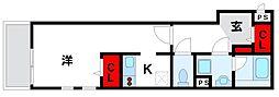 JR鹿児島本線 福間駅 徒歩4分の賃貸アパート 2階1Kの間取り