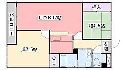 兵庫県小野市王子町の賃貸マンションの間取り
