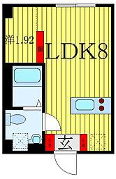 東京メトロ南北線 志茂駅 徒歩4分の賃貸マンション 2階1LDKの間取り