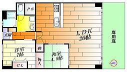 北摂マンション 2階2LDKの間取り