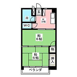 宝劒ハイツ[3階]の間取り