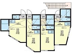 神奈川県横浜市金沢区富岡東6の賃貸アパートの間取り