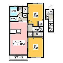クレメント リバーB[2階]の間取り