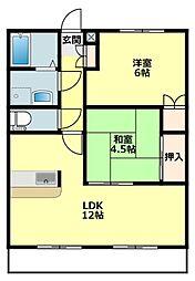 愛知県岡崎市岡町字東野々宮の賃貸アパートの間取り