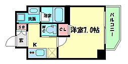 Osaka Metro四つ橋線 肥後橋駅 徒歩7分の賃貸マンション 6階1Kの間取り